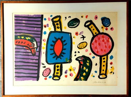 ALAN DAVIE Bird Noises 1964, Lithograph. Signed. Numbered. Framed.