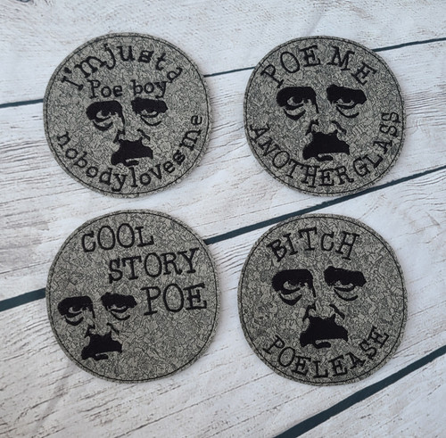 Poe Boy Embroidered Coaster Set