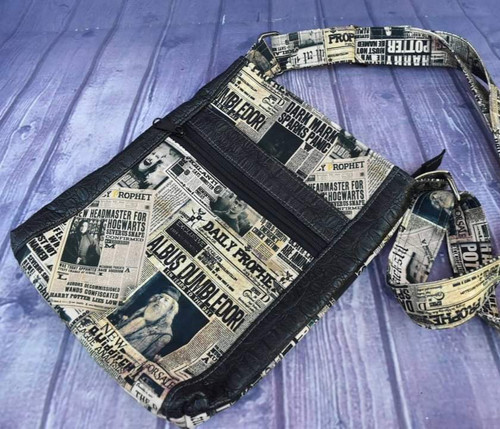 Magical Newspaper Double Zip Crossbody