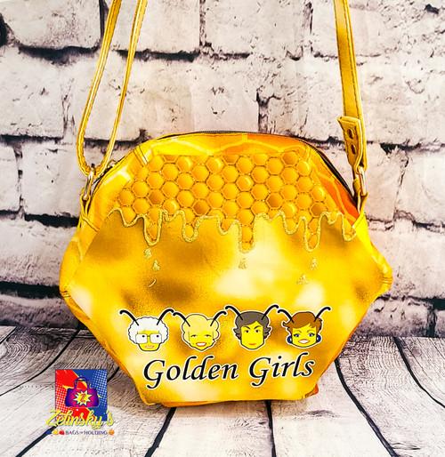 Golden Bees Honeycomb Crossbody Bag