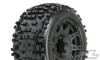 """Pro-Line Badlands 3.8"""" All Terrain Tires Mounted on Raid Black 8x32 Removable Hex 17mm Wheels, 1178-10"""