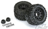 """Pro-Line Trencher X 3.8"""" All Terrain Monster Truck Tires Mounted on Raid Black 8x32 Removable Hex 17mm Wheels, 1184-10"""