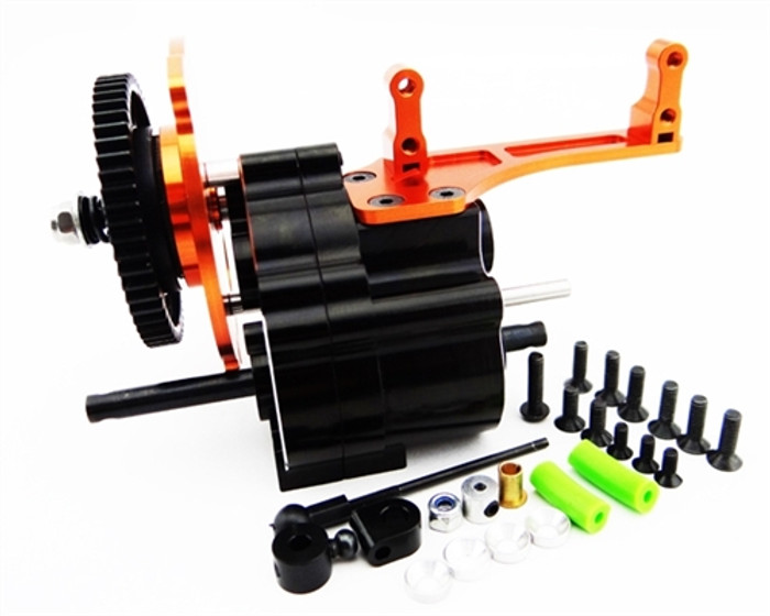 Hot Racing 2-Speed Gear Box with Steel Gear Long Shaft Output for Axial Wraith, AX10, and SCX10
