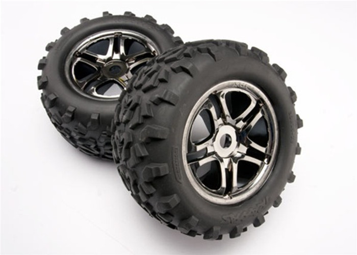 "Traxxas Maxx Tires 6.3""/Split Spoke Black Chrome Wheels (assembled, glued, fits E-Maxx Brushless), 4983A"