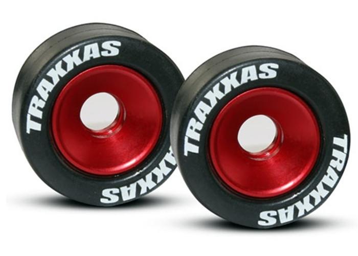 Traxxas Red Aluminum Wheelie Bar Wheels w/Rubber Tires, 5186