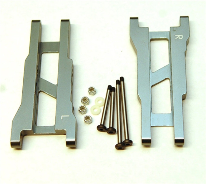 ST Racing Heavy Duty Aluminum Rear A-Arm Set with Steel Hinge-Pins - Gun Metal, 2555XGM