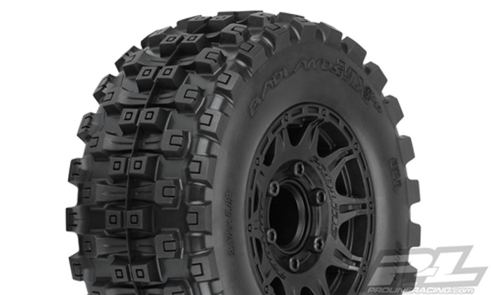 "Pro-Line Badlands MX28 HP 2.8"" All Terrain Belted Truck Tires Mounted on Raid Black 6X30 Removable Hex Wheels, 10174-10"