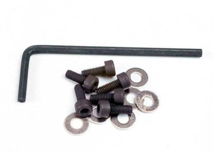 Traxxas Backplate Screws (3x8mm hex cap) w/wrench, 1552