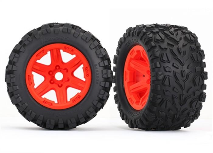 "Traxxas Talon EXT 3.8"" Tires on Orange Wheels for New E-Revo Brushless, 8672A"