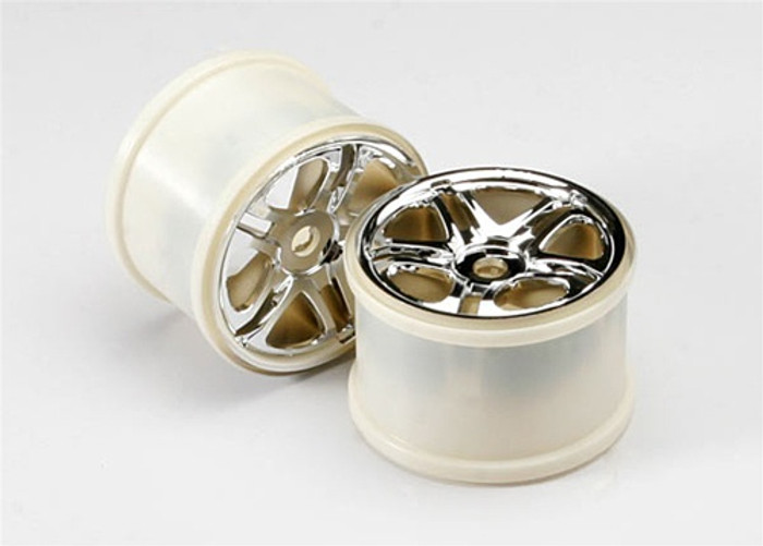 "Traxxas Wheels Split Spoke 3.8"" Chrome 17mm Hubs (fits Revo/Maxx series), 5172R"