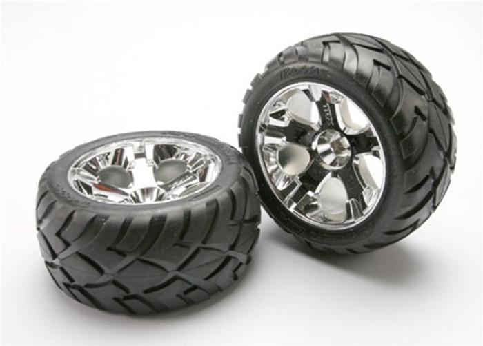 Traxxas Anaconda Tires/All-Star Chrome Wheels/Foam Inserts (nitro front), 5577R