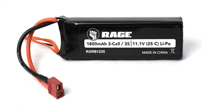 Rage 11.1V 1800mAh LiPo Battery for Brushless Black Marlin, B1235