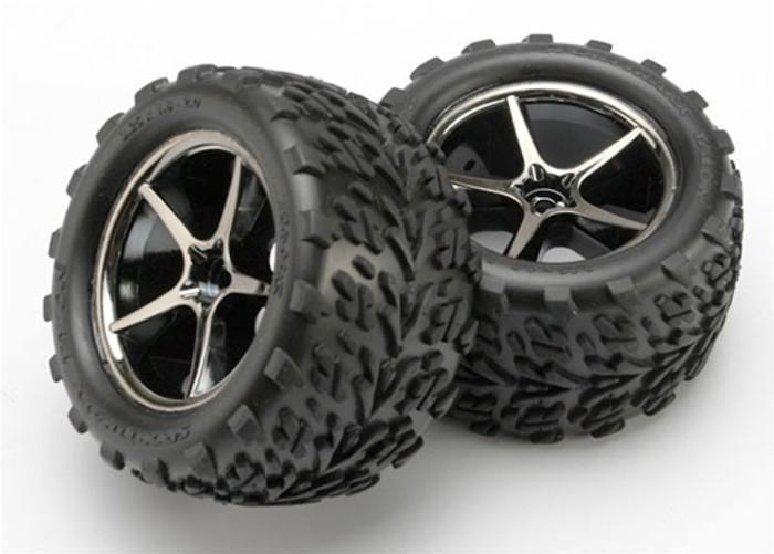 Traxxas Talon Tires and Gemini Black Chrome Wheels for 1/16, 7174A