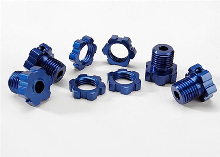 Traxxas Wheel Hubs & Nuts Splined 17mm (blue-anodized), 5353X