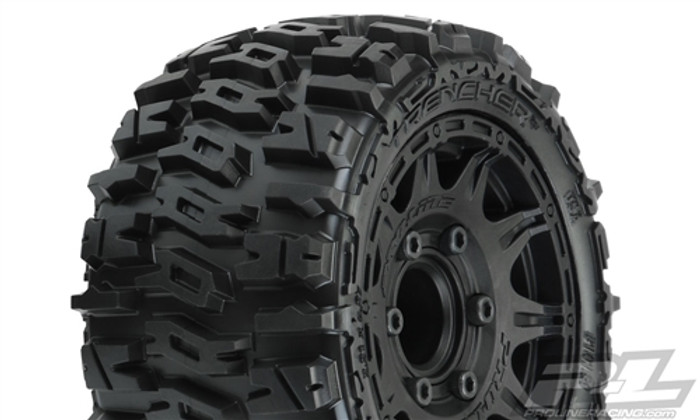 "Pro-Line Trencher LP 2.8"" All Terrain Tires Mounted on Raid Black 6X30 Removable Hex Wheels, 10159-10"