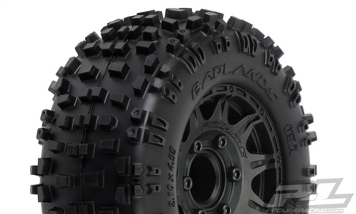 "Pro-Line Badlands 2.8"" All Terrain Tires Mounted on Raid Black 6X30 Removable Hex Wheels, 1173-10"