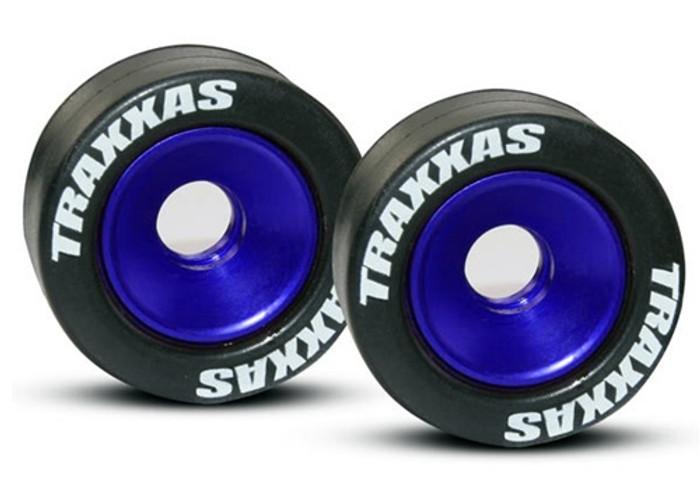 Traxxas Blue Aluminum Wheels/Tires for Wheelie Bar, 5186A