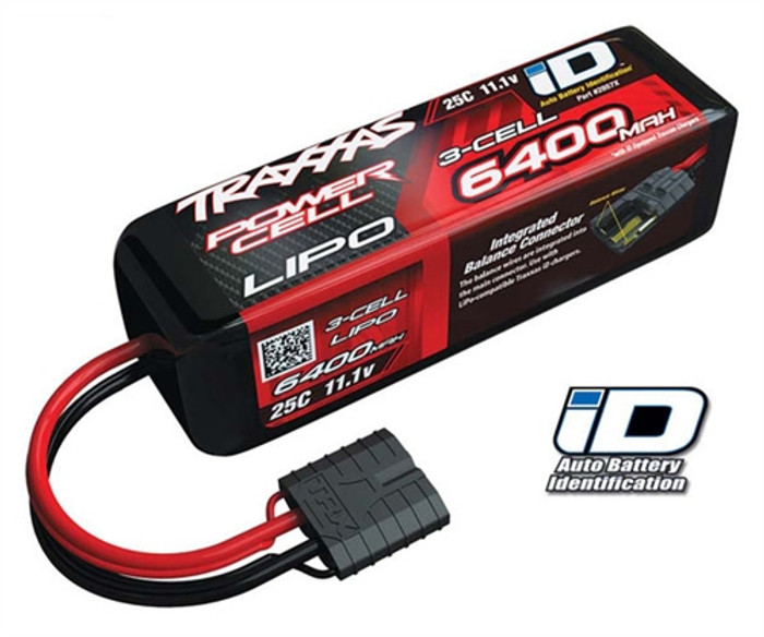 Traxxas 6400mAh 11.1V 25C Power Cell LiPo Battery w/iD Connector, 2857X