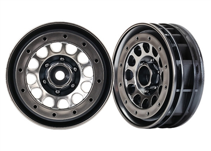 "Traxxas Method 105 1.9"" Black Chrome Beadlock Wheels for TRX-4, 8173"