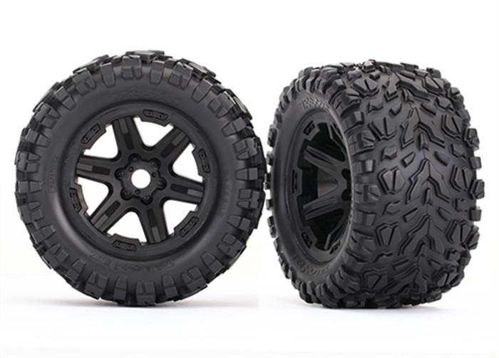"""Traxxas Talon EXT 3.8"""" Tires on Black Wheels for New E-Revo Brushless, 8672"""