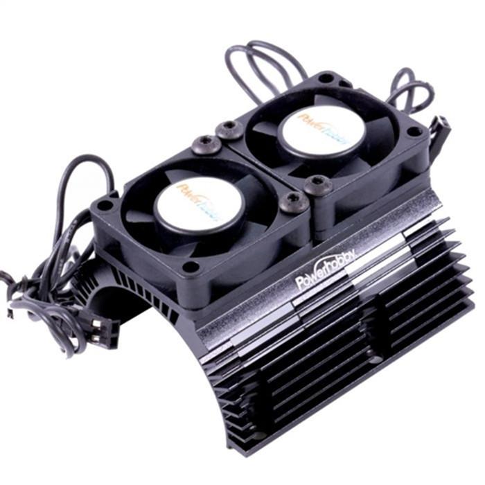 Power Hobby Heat Sink w/Twin Turbo High Speed Cooling Fans for 1/8 Motors - Black