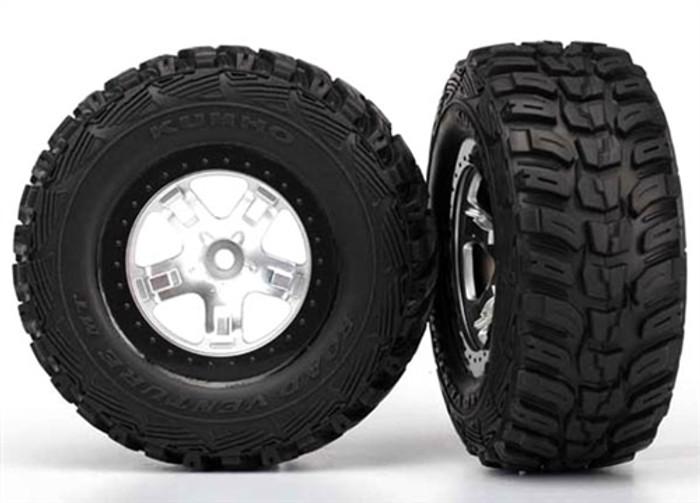 Traxxas Kumho Tires on Satin Chrome Beadlock Wheels (4WD front/rear, 2WD rear only), 5880X