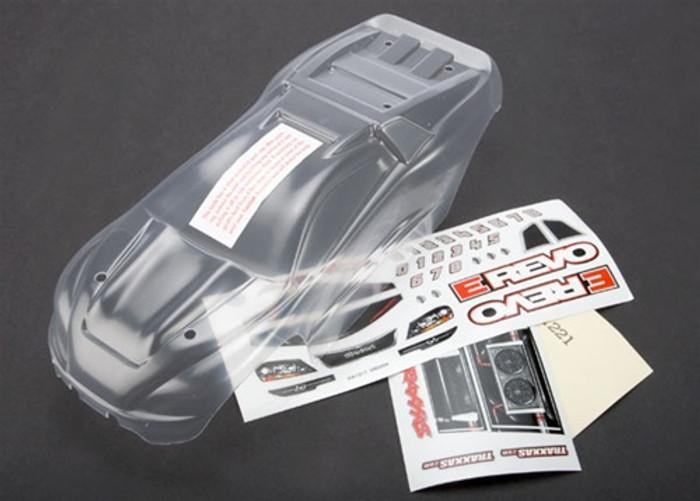 Traxxas Body 1/16 E-Revo (clear w/grill & lights decal sheet), 7111