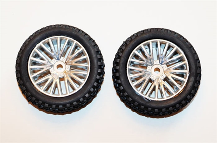 DHK Rear Tires Mounted on Chrome Wheels for Wolf Buggy, 8131-024