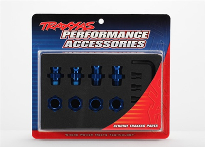 Traxxas Wheel Hubs and Nuts Splined 17mm Blue Anodized 2WD, 5853X