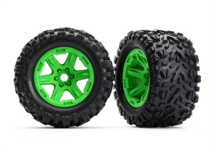"""Traxxas Talon EXT 3.8"""" Tires on Green Wheels for New E-Revo Brushless, 8672G"""
