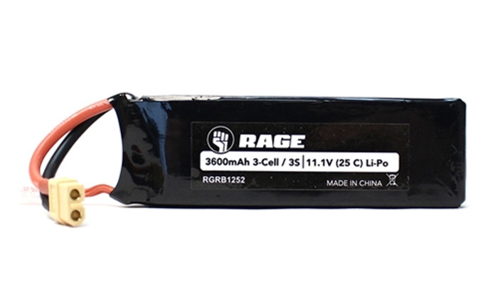 Rage 11.1V 3600mAh LiPo Battery w/XT60 for SuperCat 700BL, B1252