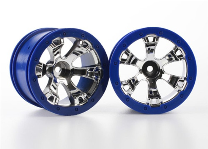 Traxxas Wheels Geode 2.2'' Chrome, Blue Beadlock Style w/12mm hex for 1/16 Summit VXL, 7273