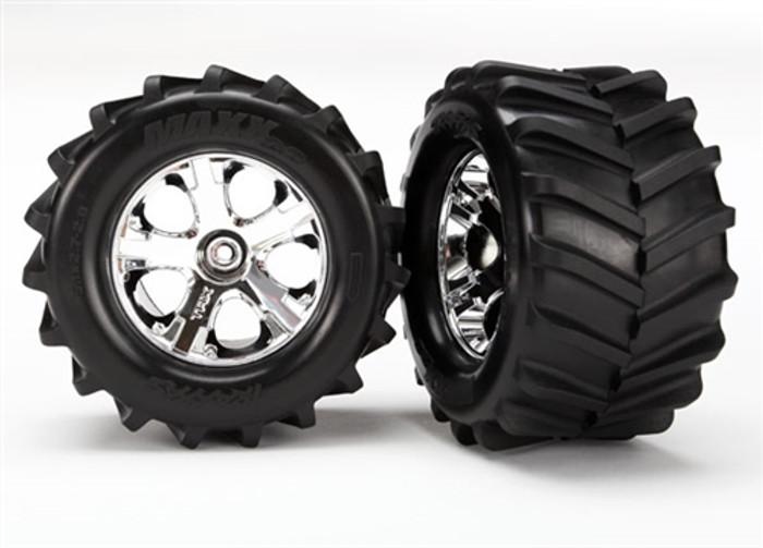"Traxxas 2.8"" Maxx Tires on Chrome All-Star Wheels for Rustler 4X4, 6771"