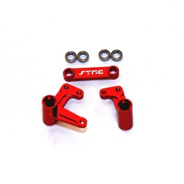 ST Racing Concepts Aluminum Steering Bellcrank Set with Bearings for Slash/Rustler/Bandit (Red), 3743XR