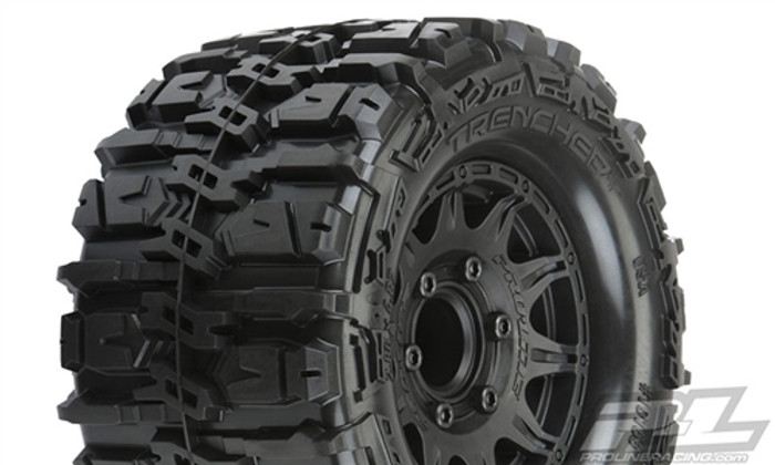 "Pro-Line Trencher HP 2.8"" All Terrain Belted Truck Tires Mounted on Raid Black 6X30 Removable Hex Wheels, 10168-10"