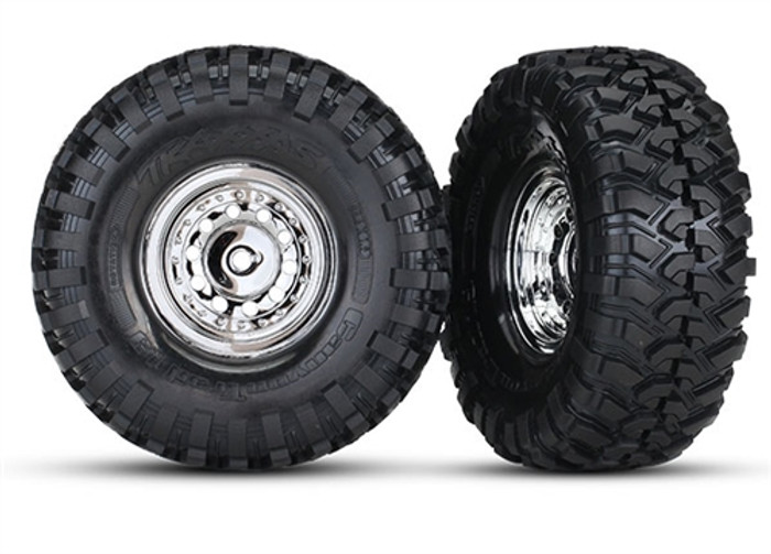 Traxxas Canyon Trail Tires on Chrome Wheels for TRX-4 Ford Bronco, 8177