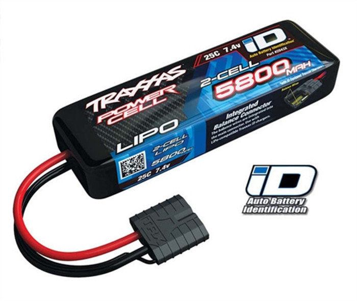 Traxxas 5800mAh 7.4V 25C Power Cell LiPo Battery w/iD Connector, 2843X