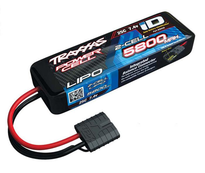Traxxas 5800mAh 7.4V 25C Power Cell LiPo Battery w/iD Connector, 2843X
