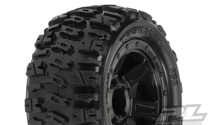 "Pro-Line Trencher 2.2"" M2 (Medium) All Terrain Tires on Desperado Black Wheels for 1/16 E-Revo/Summit, 1194-11"