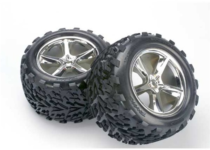 Traxxas Talon Tires/Gemini Chrome Wheels/Foam Inserts (assembled, glued, also fits Maxx series), 5374