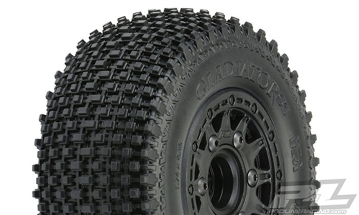 "Pro-Line Gladiator SC 2.2""/3.0"" M2 Medium Off-Road Tires Mounted on Raid Black 6X30 Removable Hex Wheels, 1169-10"