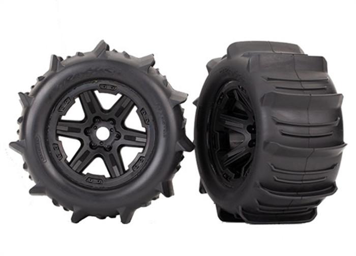 """Traxxas Paddle Tires on Black 3.8"""" Wheels for New E-Revo 2.0 Brushless, 8674"""