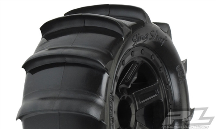 "Pro-Line Sling Shot 2.2"" Sand Tires on Desperado Black Wheels for 1/16 E-Revo/Summit, 10101-10"