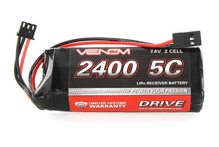 Venom 2400mAh 7.4V 2S LiPo RX Flat Pack, 15000