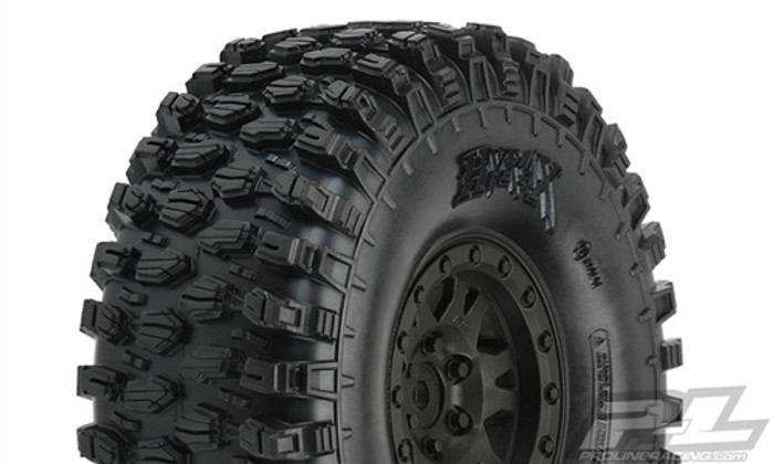 "Pro-Line Hyrax 1.9"" G8 Rock Terrain Truck Tires Mounted on Impulse Black Plastic Internal Bead-Loc Wheels, 10128-10"
