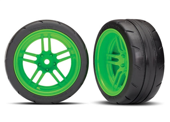 Traxxas Response Tires on SS Green Wheels (extra wide rear) for Ford GT & 4-Tec 2.0, 8374G