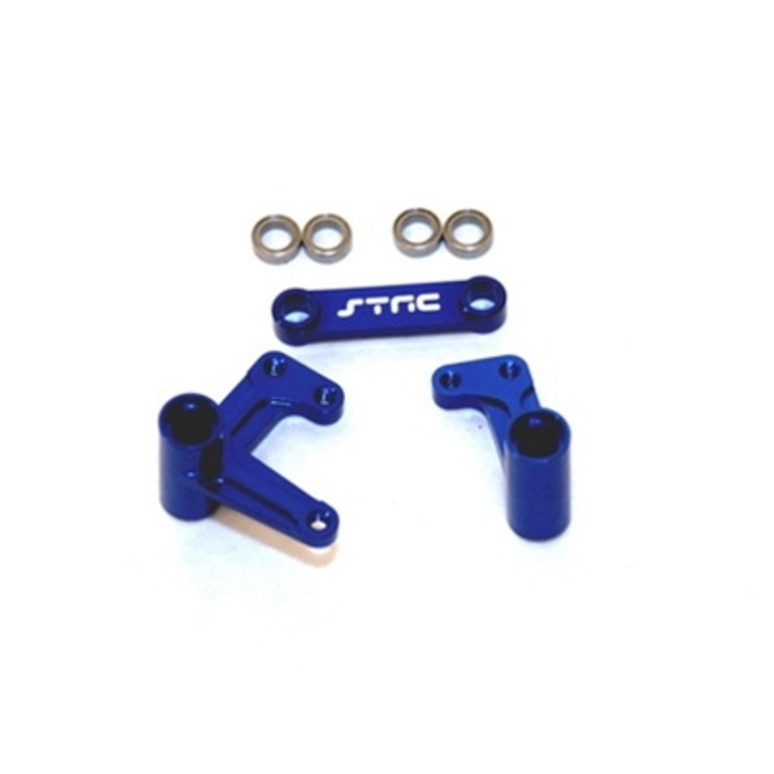ST Racing Concepts Aluminum Steering Bellcrank Set with Bearings for Slash/Rustler/Bandit (Blue), 3743XB