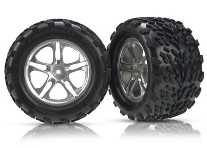 "Traxxas Talon Tires/Split Spoke Satin 3.8"" Wheels/Foam Inserts (assembled, glued, Revo/Maxx), 5174A"