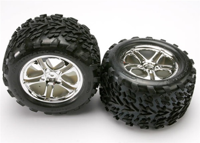 Traxxas Talon Tires/Split Spoke Chrome Wheels/Foam Inserts (assembled, glued, fits Maxx/Revo series), 5174
