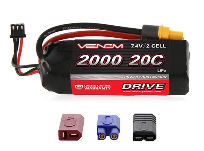 VENOM 20C 2000mAh 7.4v 2-Cell LiPO Battery w/UNI Plug 2.0, 15023